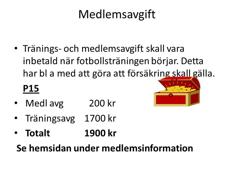 Medlemsavgift Tränings- och medlemsavgift skall vara inbetald när fotbollsträningen börjar. Detta har bl a med att göra att försäkring skall gälla.
