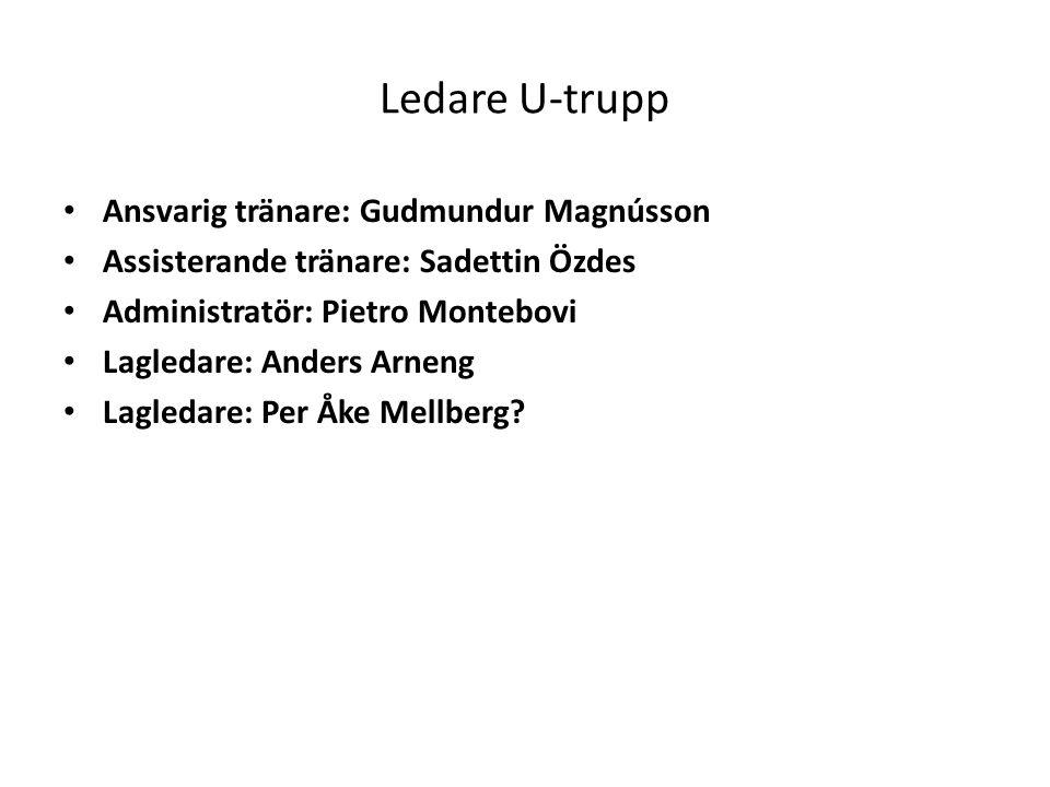 Ledare U-trupp Ansvarig tränare: Gudmundur Magnússon