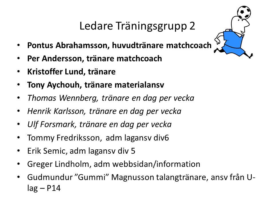 Ledare Träningsgrupp 2 Pontus Abrahamsson, huvudtränare matchcoach