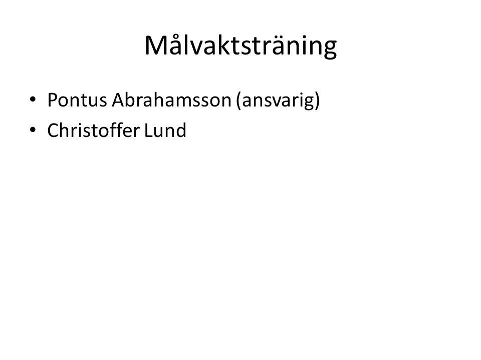 Målvaktsträning Pontus Abrahamsson (ansvarig) Christoffer Lund