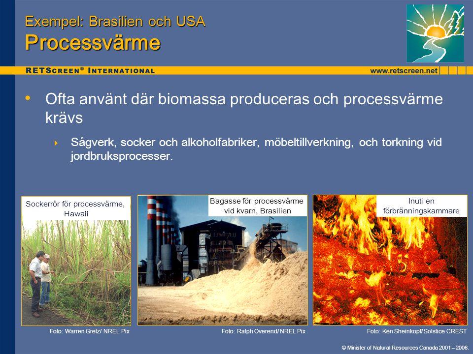 Exempel: Brasilien och USA Processvärme