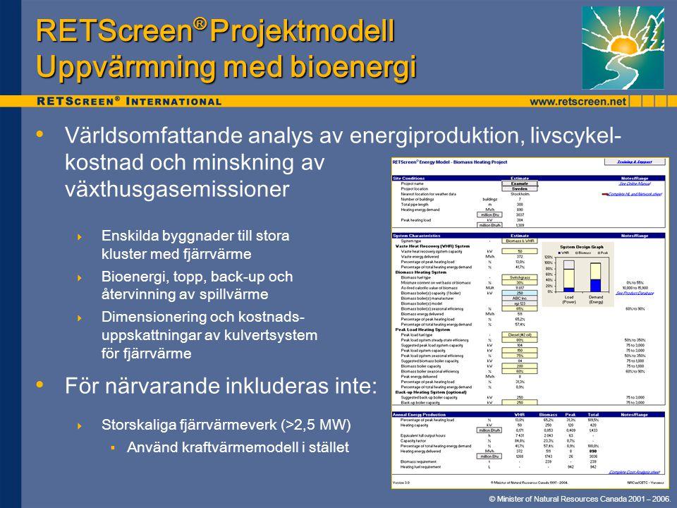 RETScreen® Projektmodell Uppvärmning med bioenergi