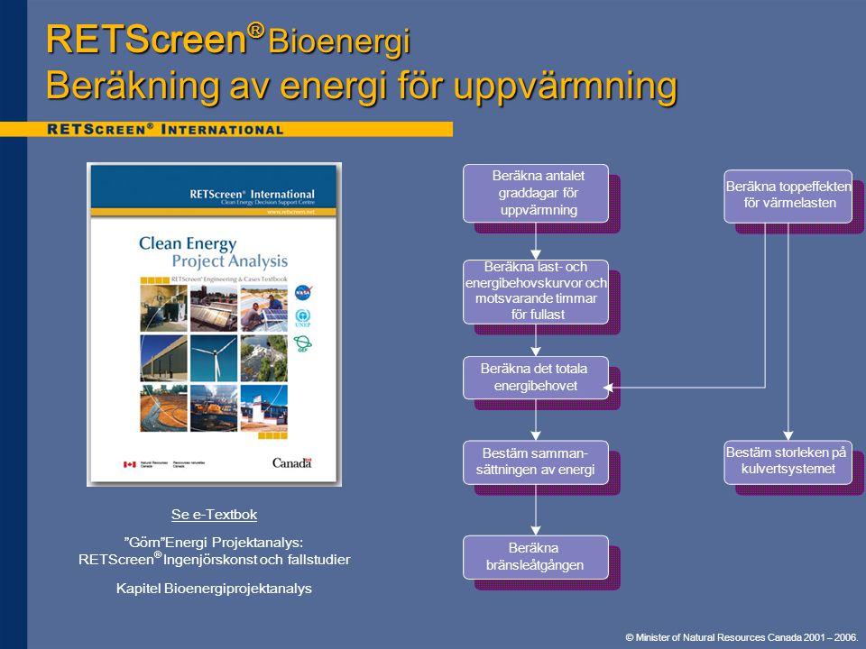RETScreen® Bioenergi Beräkning av energi för uppvärmning