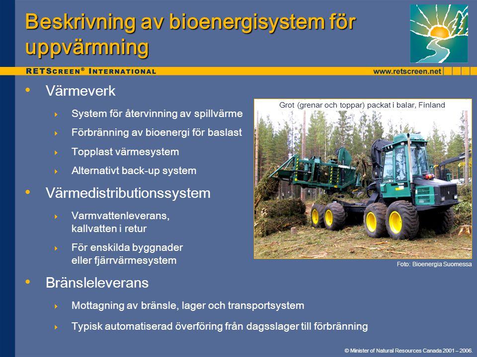 Beskrivning av bioenergisystem för uppvärmning