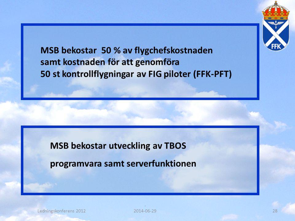 MSB bekostar 50 % av flygchefskostnaden