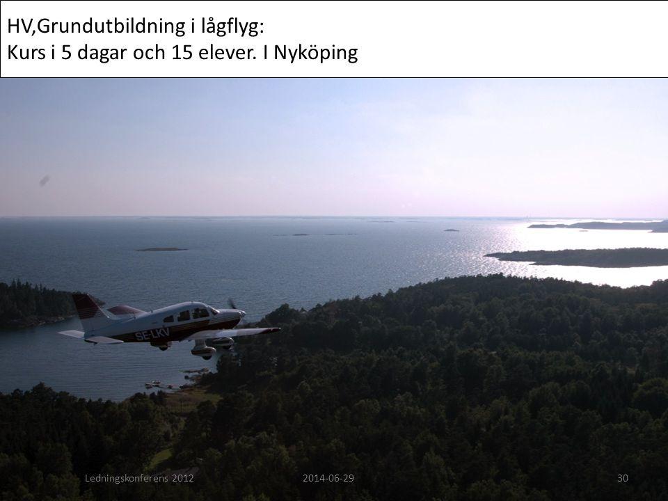 HV,Grundutbildning i lågflyg: Kurs i 5 dagar och 15 elever. I Nyköping