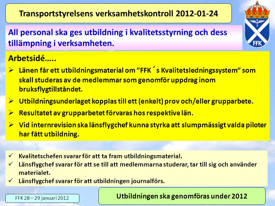 Transportstyrelsens verksamhetskontroll 2012-01-24
