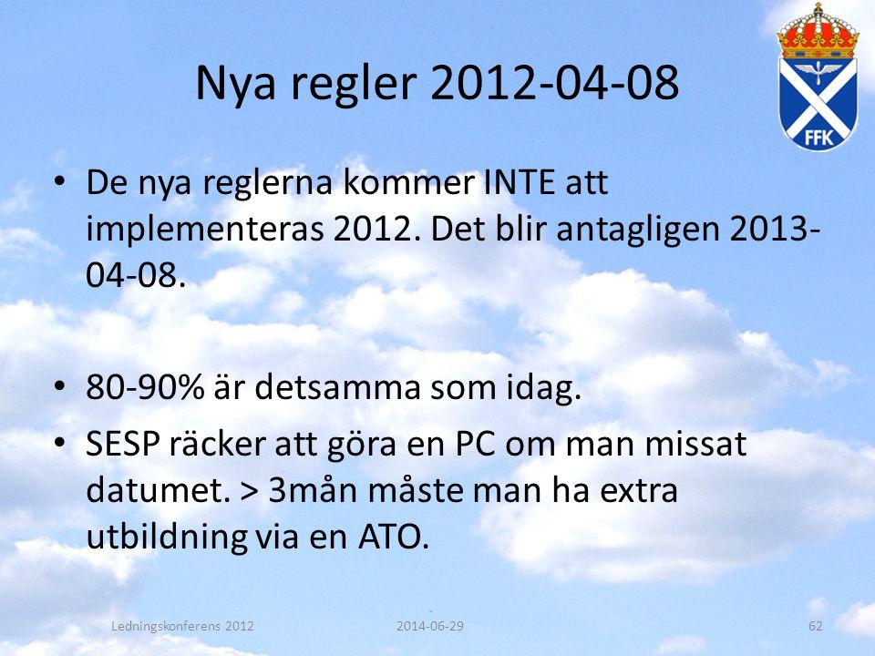 Nya regler 2012-04-08 De nya reglerna kommer INTE att implementeras 2012. Det blir antagligen 2013-04-08.