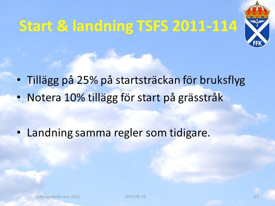 Start & landning TSFS 2011-114 Tillägg på 25% på startsträckan för bruksflyg. Notera 10% tillägg för start på grässtråk.