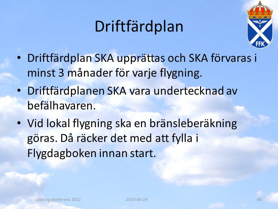 Driftfärdplan Driftfärdplan SKA upprättas och SKA förvaras i minst 3 månader för varje flygning.