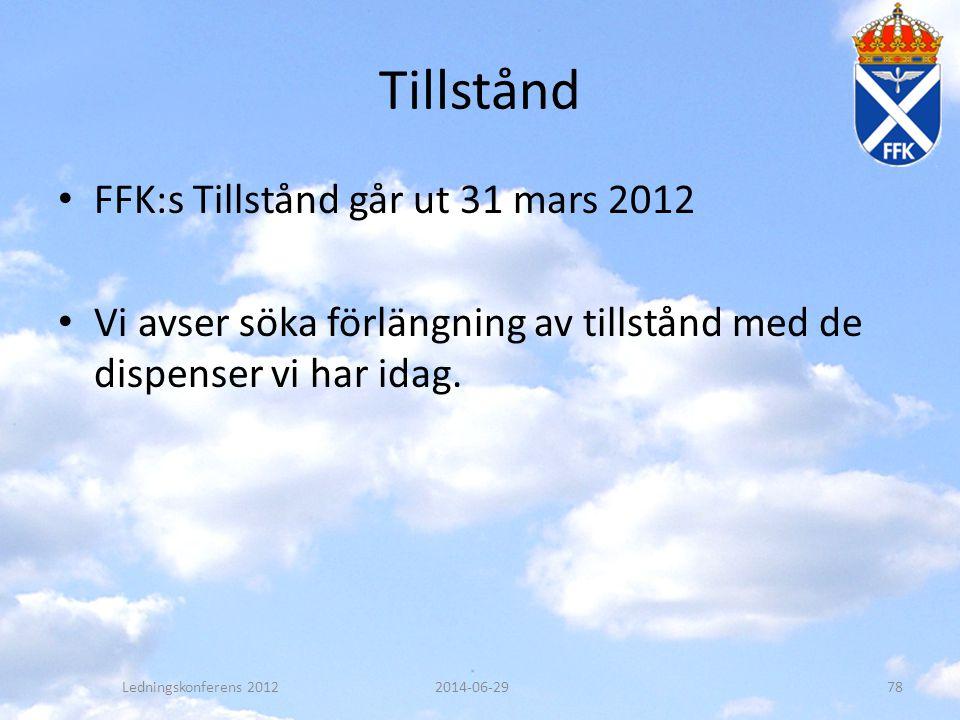 Tillstånd FFK:s Tillstånd går ut 31 mars 2012