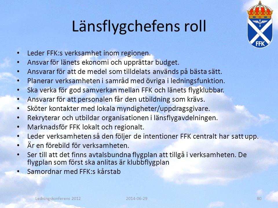 Länsflygchefens roll Leder FFK:s verksamhet inom regionen.