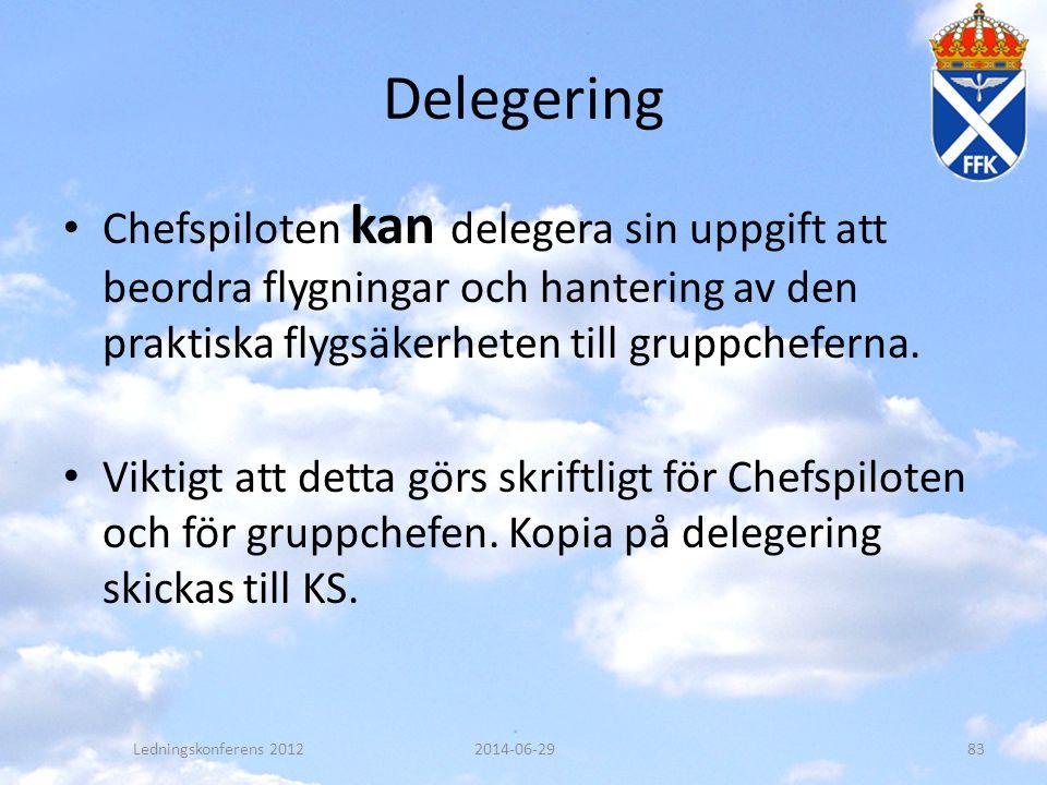 Delegering Chefspiloten kan delegera sin uppgift att beordra flygningar och hantering av den praktiska flygsäkerheten till gruppcheferna.