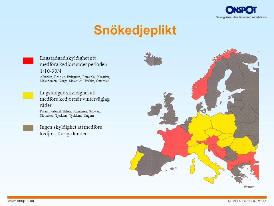 Snökedjeplikt Lagstadgad skyldighet att medföra kedjor under perioden 1/10-30/4.