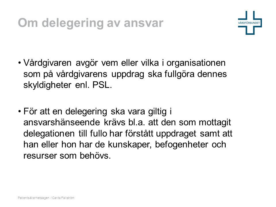 Om delegering av ansvar