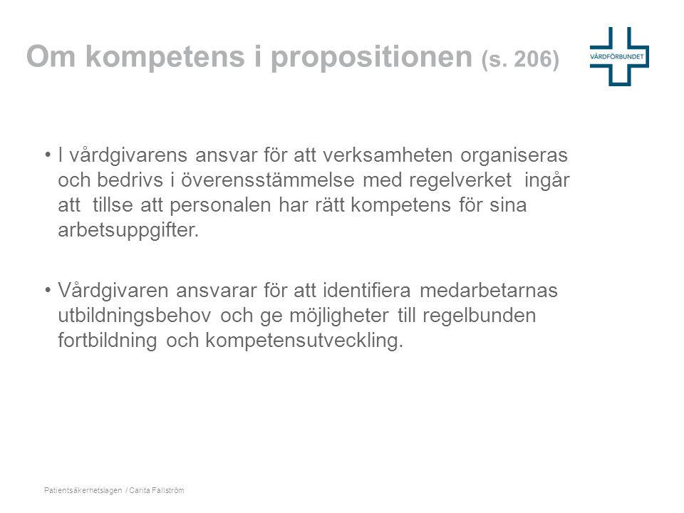 Om kompetens i propositionen (s. 206)