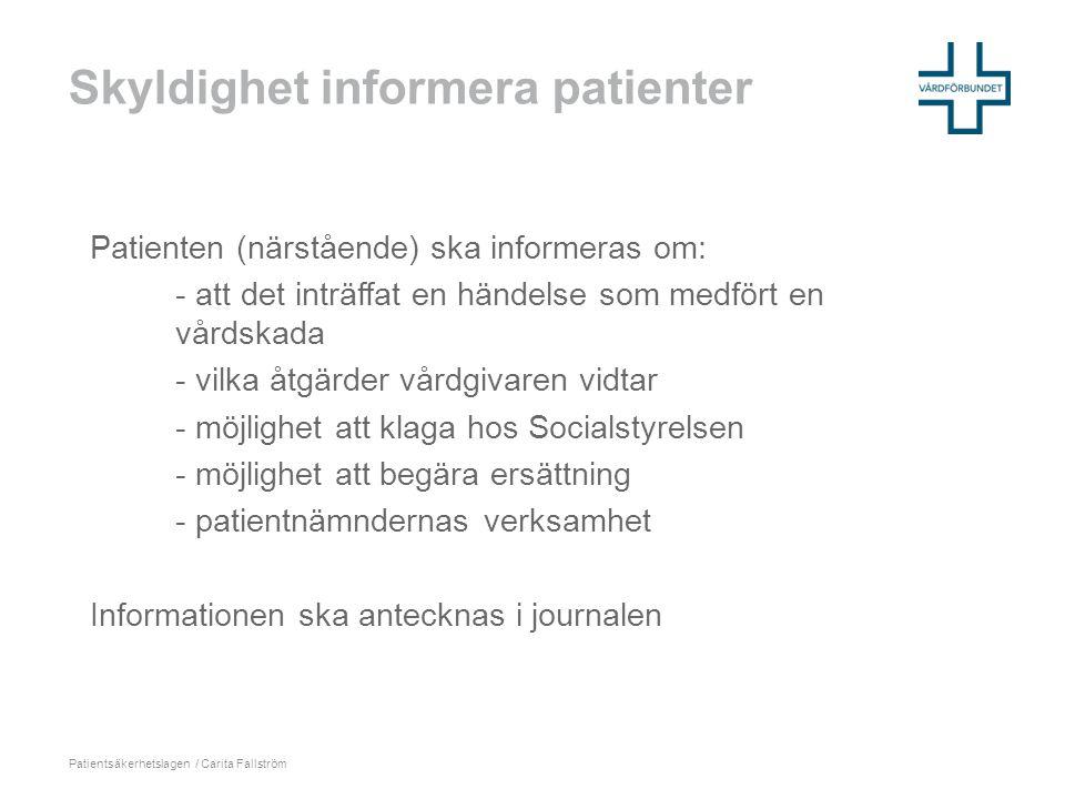 Skyldighet informera patienter