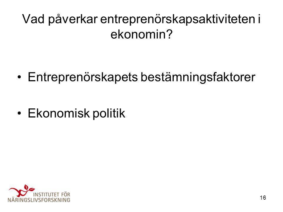 Vad påverkar entreprenörskapsaktiviteten i ekonomin