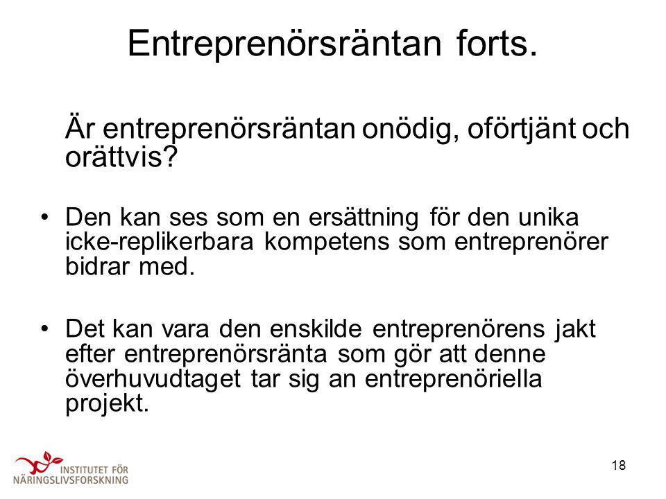 Entreprenörsräntan forts.