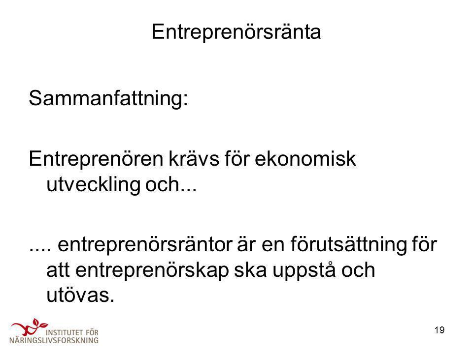 Entreprenörsränta Sammanfattning: Entreprenören krävs för ekonomisk utveckling och...