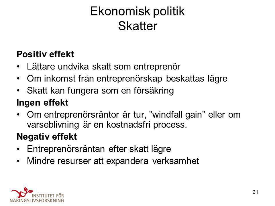 Ekonomisk politik Skatter