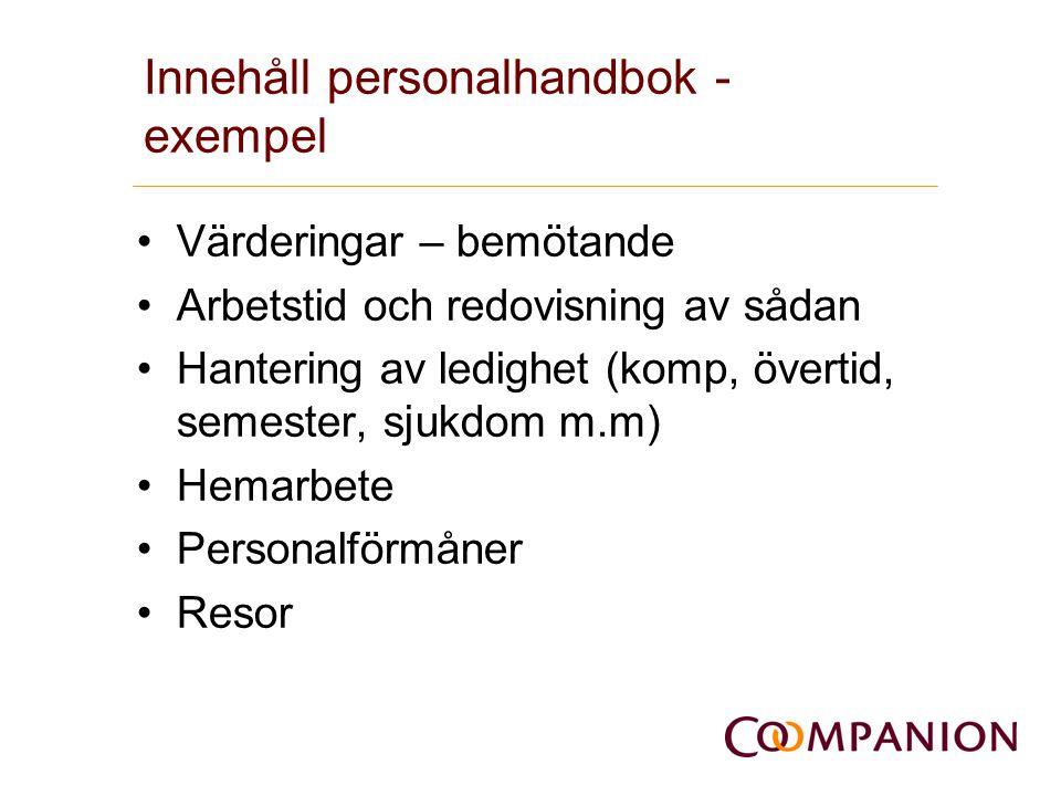 Innehåll personalhandbok - exempel