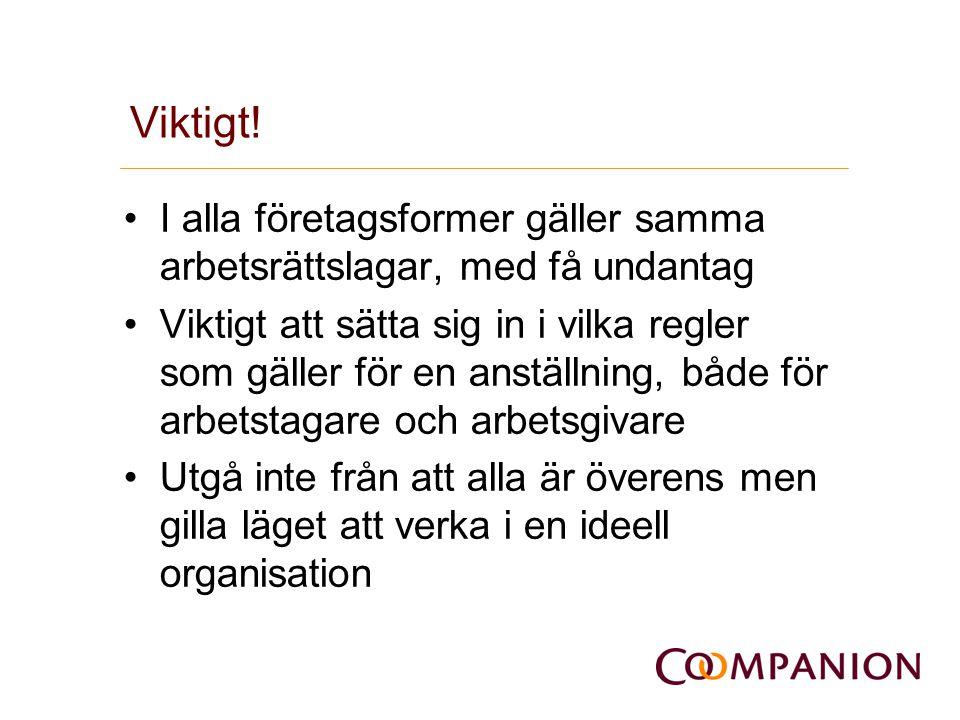 Viktigt! I alla företagsformer gäller samma arbetsrättslagar, med få undantag.