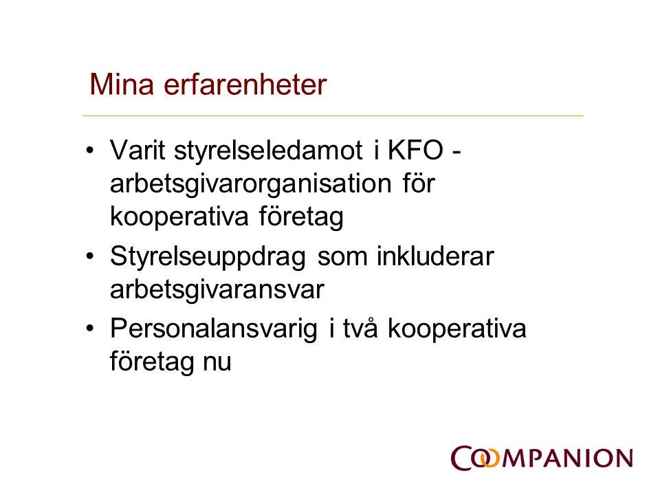 Mina erfarenheter Varit styrelseledamot i KFO - arbetsgivarorganisation för kooperativa företag. Styrelseuppdrag som inkluderar arbetsgivaransvar.