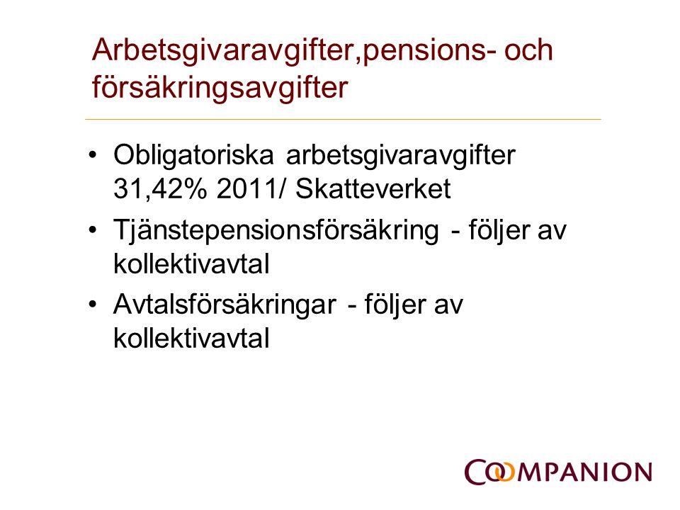Arbetsgivaravgifter,pensions- och försäkringsavgifter