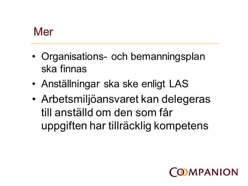 Mer Organisations- och bemanningsplan ska finnas. Anställningar ska ske enligt LAS.