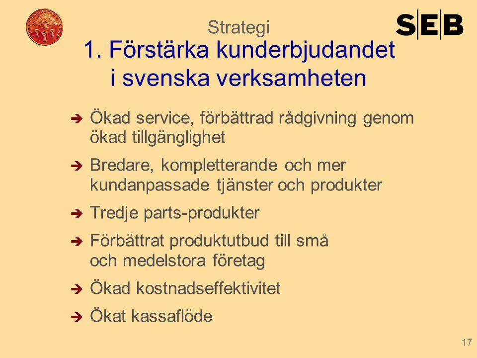 1. Förstärka kunderbjudandet i svenska verksamheten