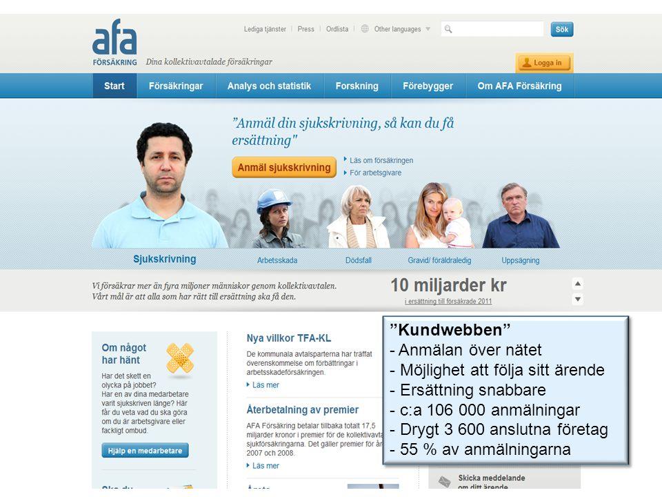 Kundwebben - Anmälan över nätet - Möjlighet att följa sitt ärende - Ersättning snabbare - c:a 106 000 anmälningar - Drygt 3 600 anslutna företag