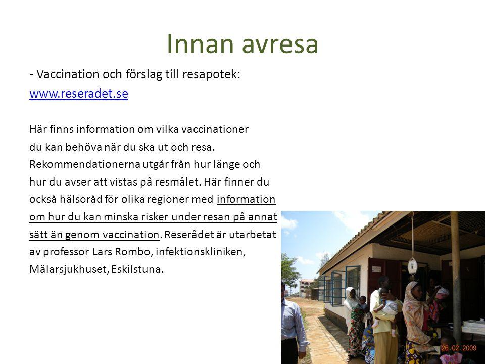 Innan avresa - Vaccination och förslag till resapotek: