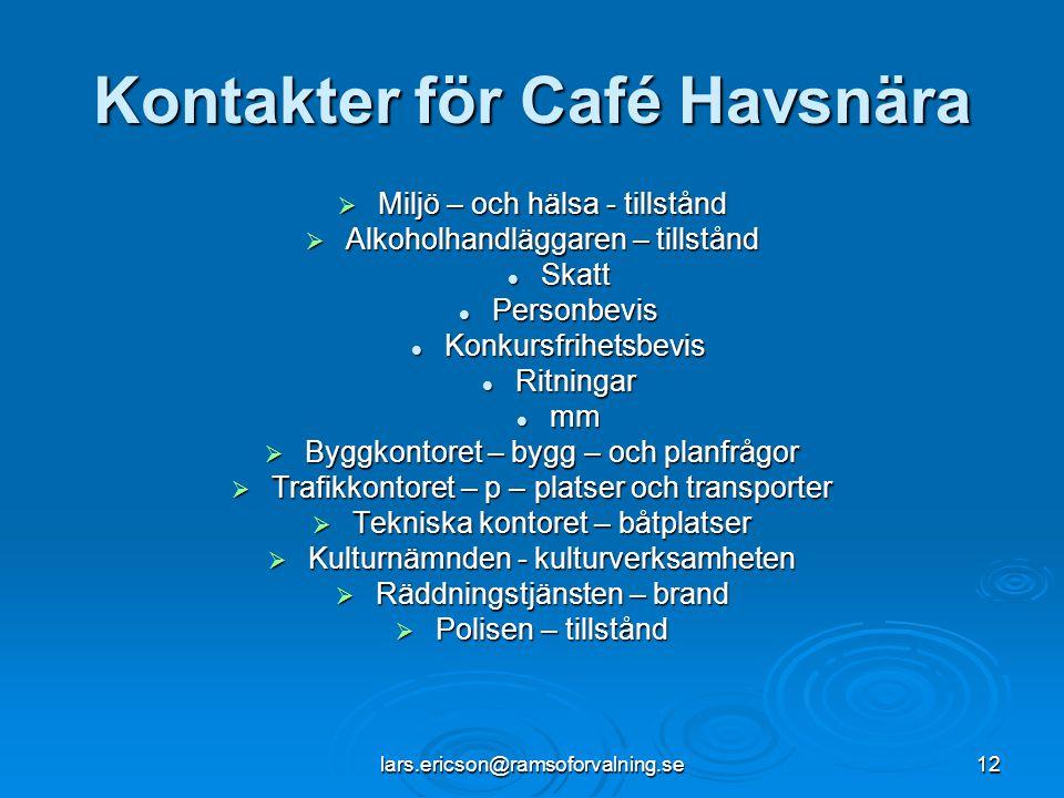 Kontakter för Café Havsnära