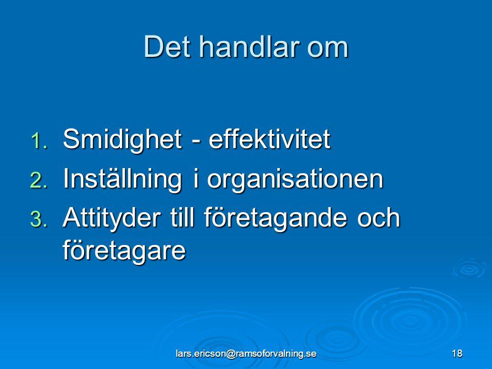 Det handlar om Smidighet - effektivitet Inställning i organisationen