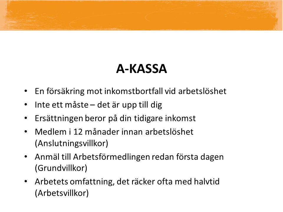 A-KASSA En försäkring mot inkomstbortfall vid arbetslöshet