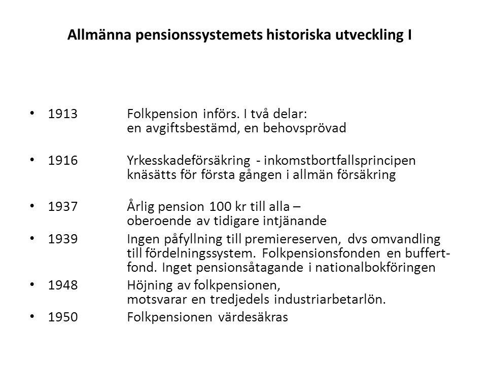 Allmänna pensionssystemets historiska utveckling I