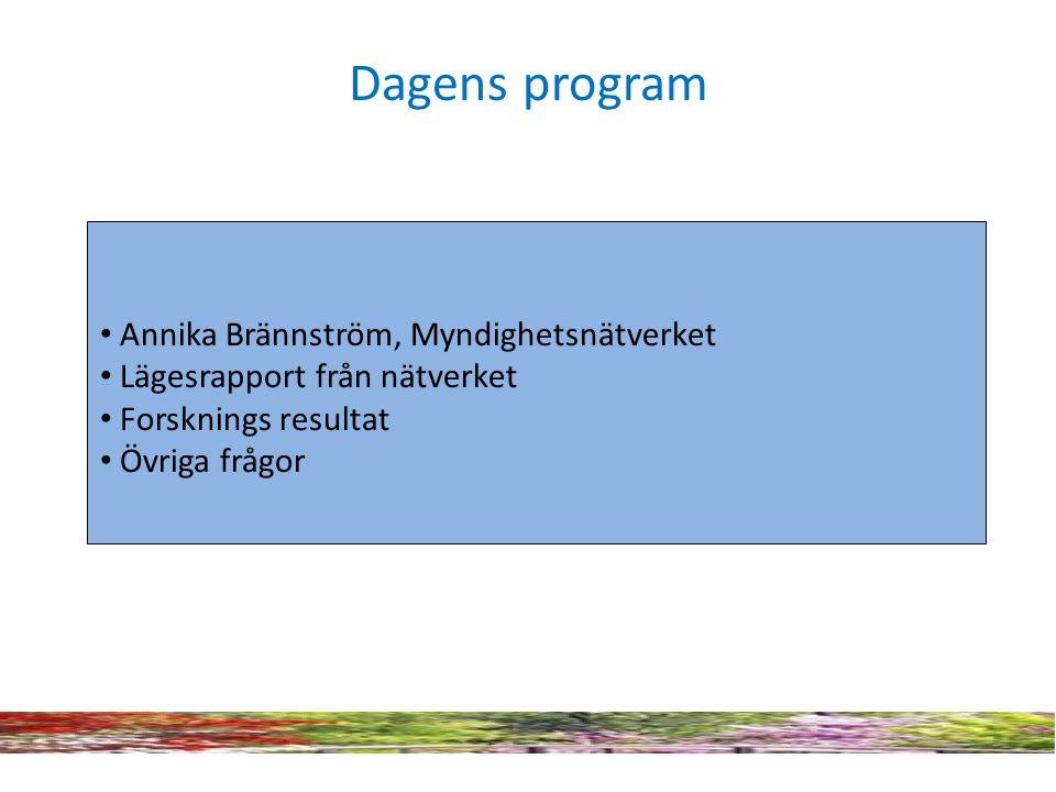 Dagens program Annika Brännström, Myndighetsnätverket