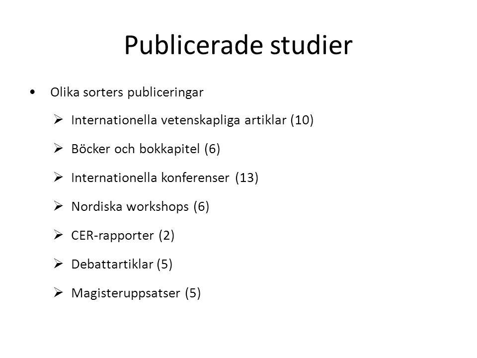 Publicerade studier Olika sorters publiceringar