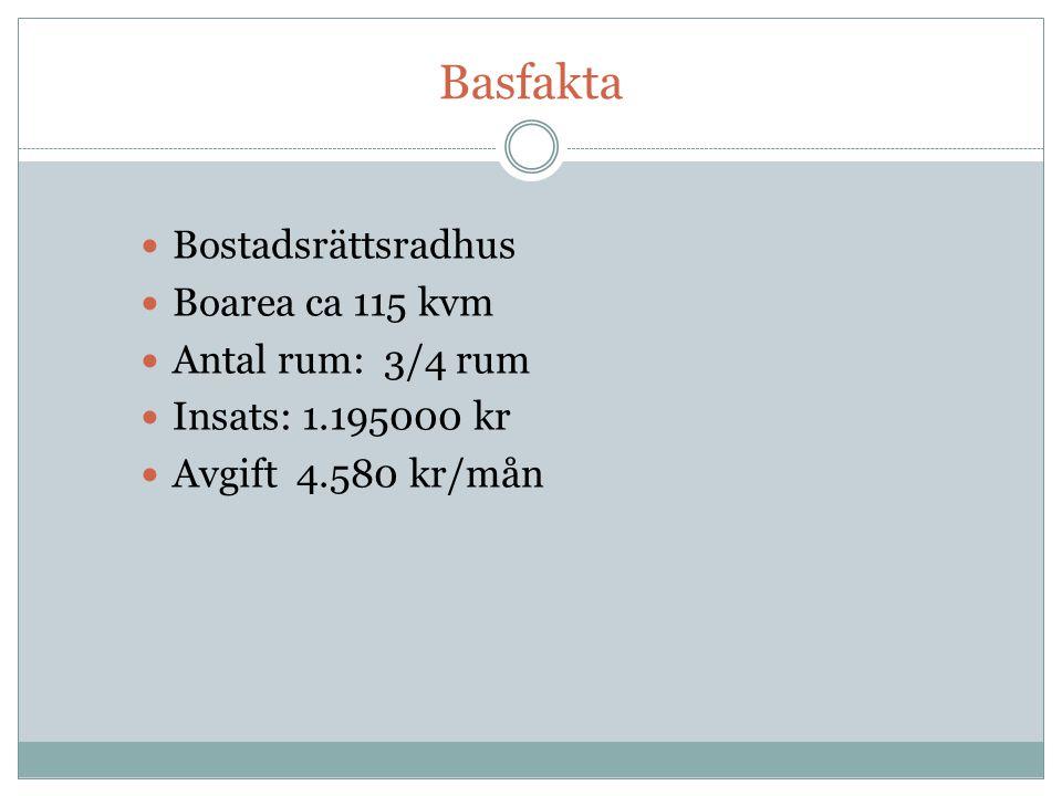 Basfakta Bostadsrättsradhus Boarea ca 115 kvm Antal rum: 3/4 rum