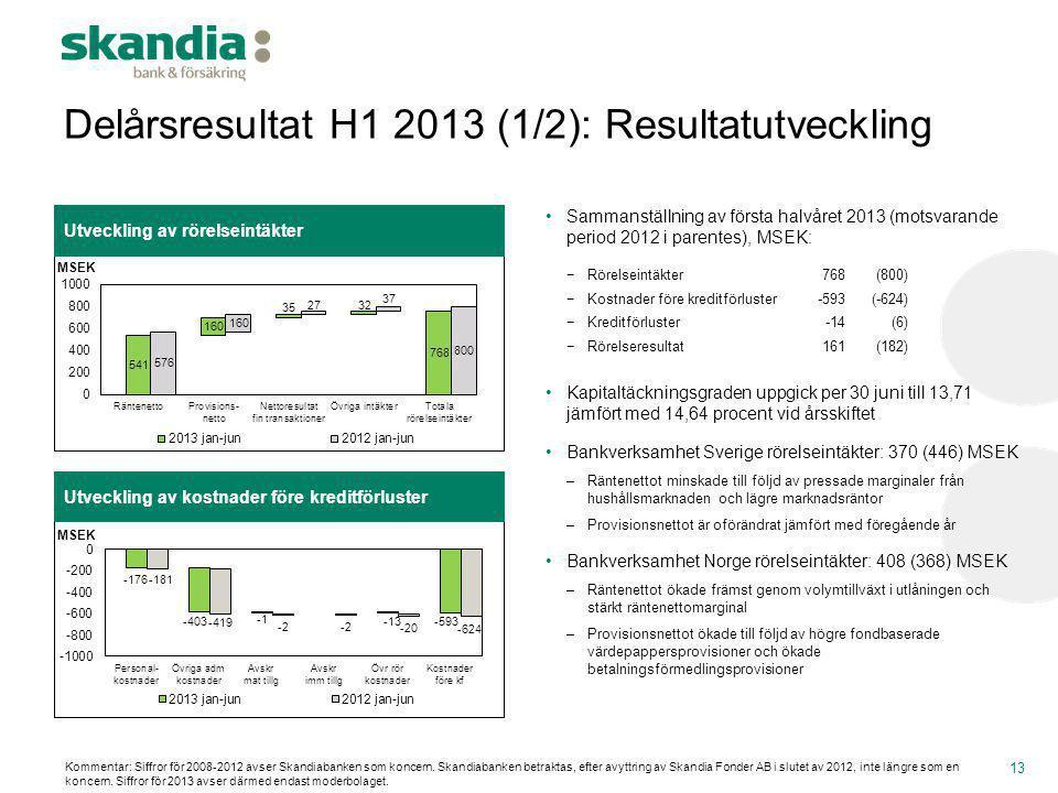 Delårsresultat H1 2013 (1/2): Resultatutveckling