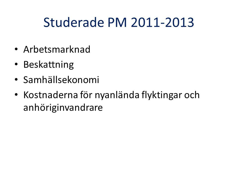 Studerade PM 2011-2013 Arbetsmarknad Beskattning Samhällsekonomi