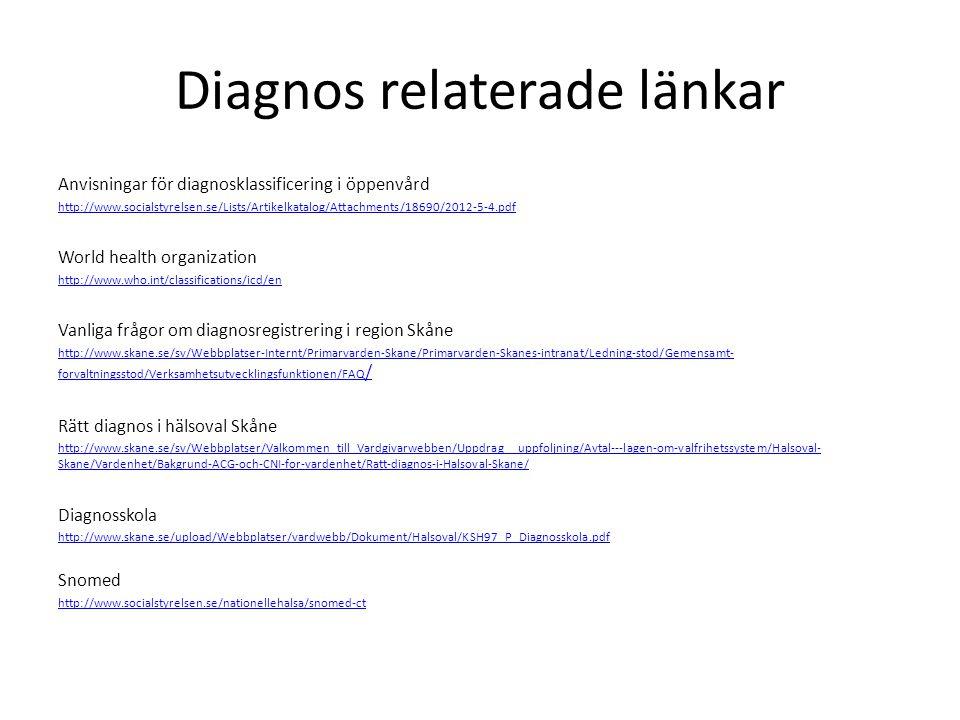 Diagnos relaterade länkar