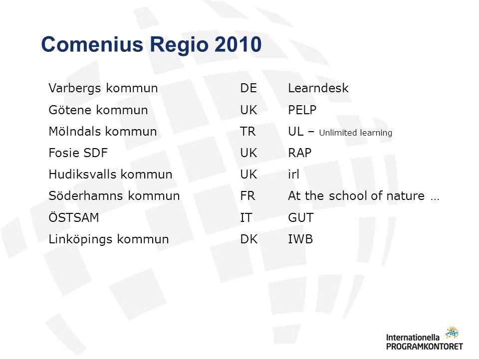 Comenius Regio 2010 Varbergs kommun DE Learndesk Götene kommun UK PELP