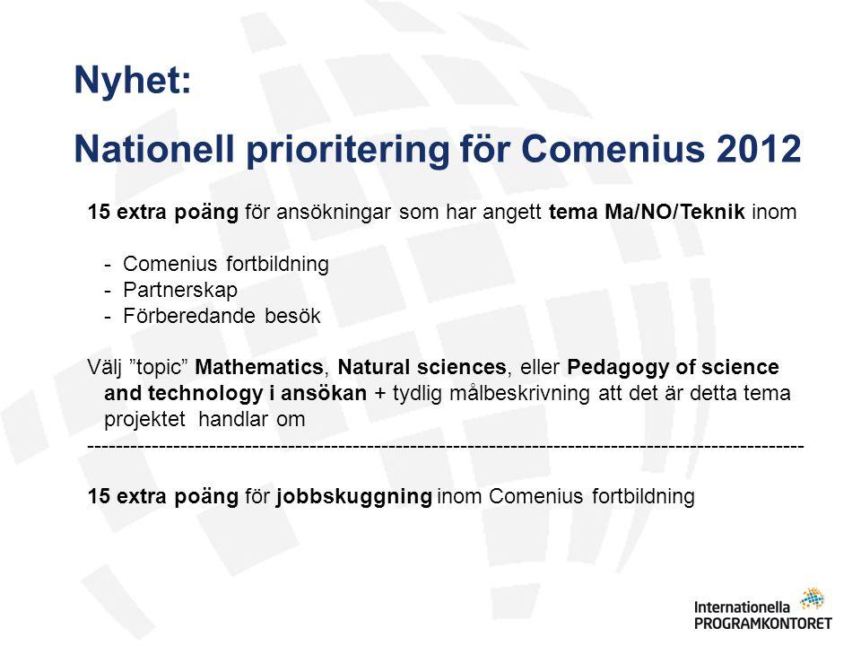 Nationell prioritering för Comenius 2012