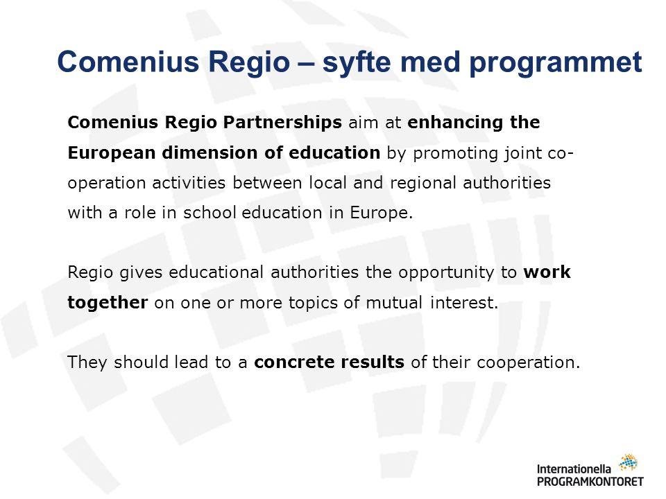 Comenius Regio – syfte med programmet