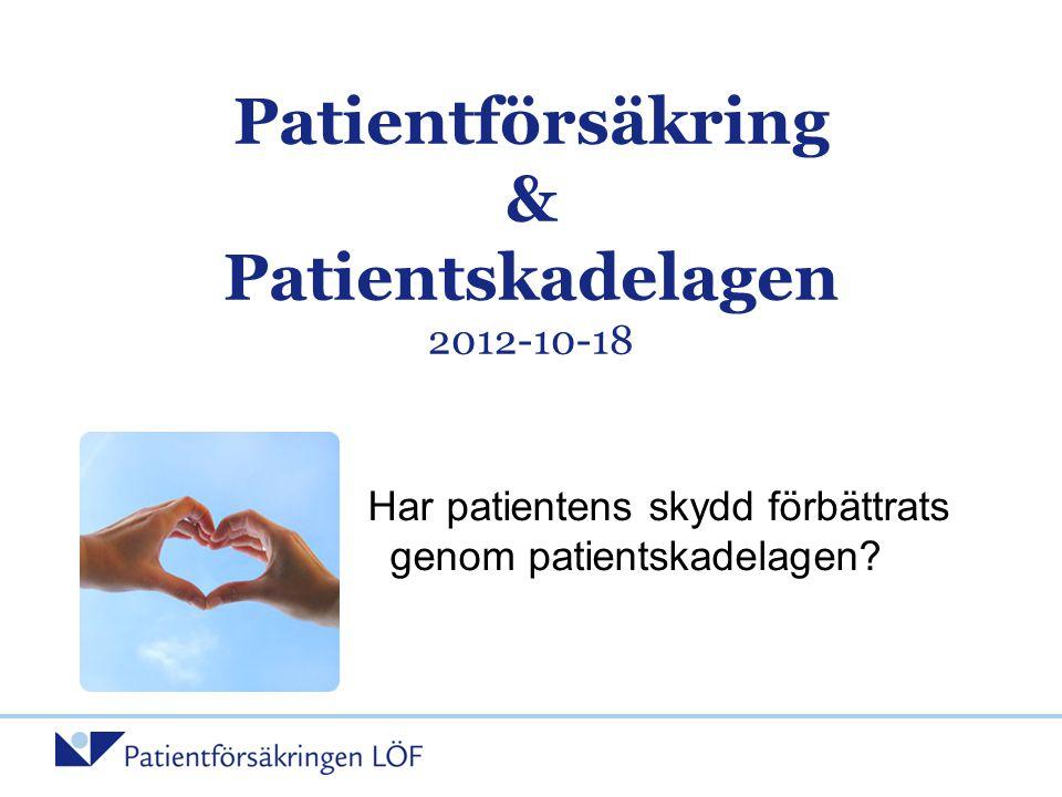 Patientförsäkring & Patientskadelagen 2012-10-18