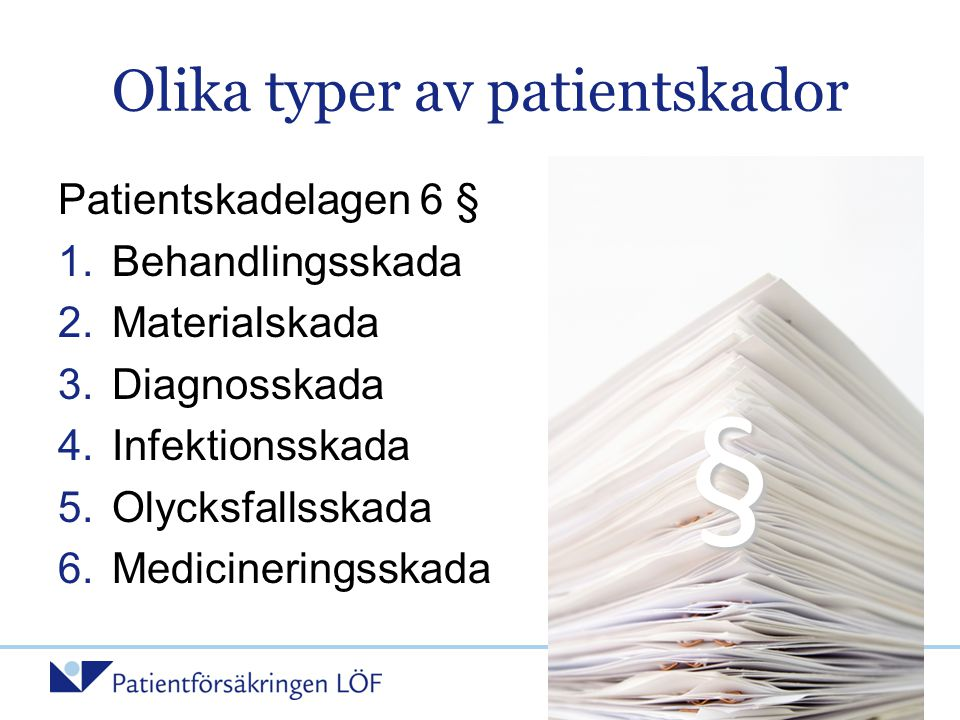 Olika typer av patientskador