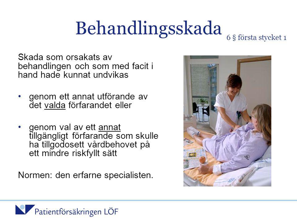 Behandlingsskada 6 § första stycket 1. Skada som orsakats av behandlingen och som med facit i hand hade kunnat undvikas.