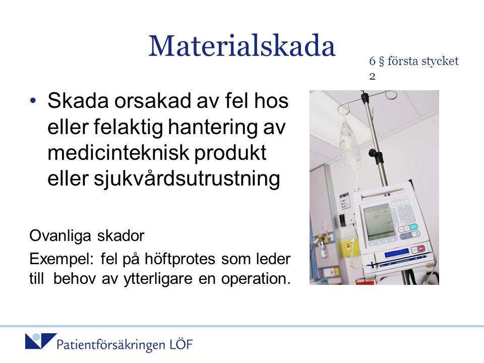 Materialskada 6 § första stycket 2. Skada orsakad av fel hos eller felaktig hantering av medicinteknisk produkt eller sjukvårdsutrustning.